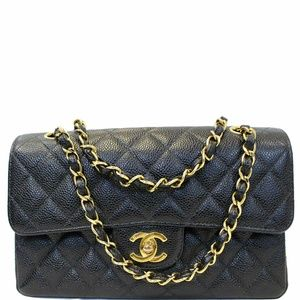 CHANEL Double Flap Small Caviar Leather Bag Black